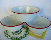 3 Vintage White and Red ENAMELWARE BOWLS Retro Primitive Rustic Kitchen PA0015