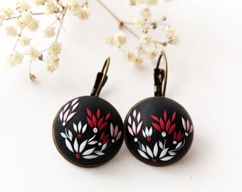 Red black earrings, black flower earrings, polymer clay earrings, gothic, embroidered, black floral earrings, red flower, romantic earrings