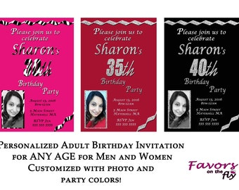 Personalized Adult Birthday Invitation for ANY AGE for Men and Women - Customize with photo and colors!
