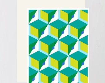 Blue-Green Geometric Greeting Card