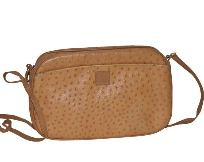 Anne Klein Vintage Estate Tan Ostrich Clutch Handbag