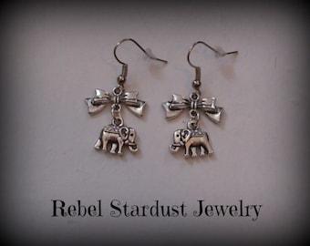 Elephant earrings with a cute little bow