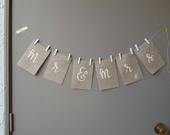 Custom hand lettered burlap bunting banner