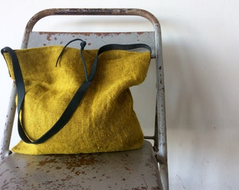 Mustard burlap and leather tote bag