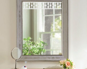 Window, Mirror, Door Vinyl Decal - Nantucket Fretwork Ball & Rail Spandrel French Door Decorative Decor - Gingerbread Victorian Moulding