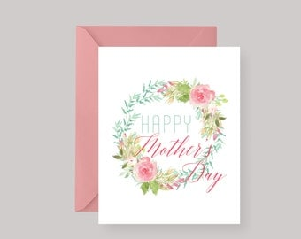 PRINTED Floral Mothers Day Card—Happy Mothers Day Card—Mothers Day Greeting Card—Mothers Day Gift—Spring Floral w/ Peony Pink Envelope