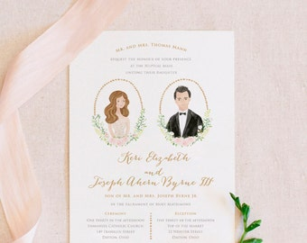 Wedding Invitation Handmade Personalized Illustration Portrait