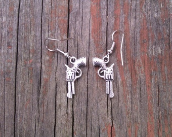 Mini Cowgirl/Cowboy Pistol Gun Earrings Western Rodeo