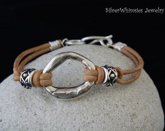 Fused Silver Hoop Bracelet with Natural Leather Cord