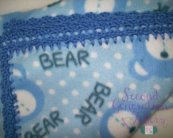 Blue bear fleece blanket, bear fleece blanket,bear blanket, toddler fleece blanket, toddler size blanket, blue fleece blanket, baby blanket