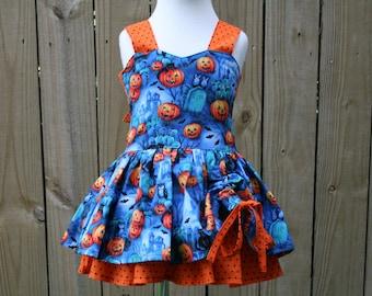 Boutique Style Halloween Pumpkin Peekaboo Dress