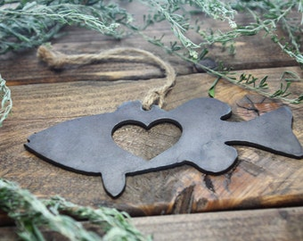 Bass Fish Love Rustic Metal Recycled Steel Heart Christmas Tree Ornament Holiday Gift Industrial Decor Wedding Favor By BE Creations