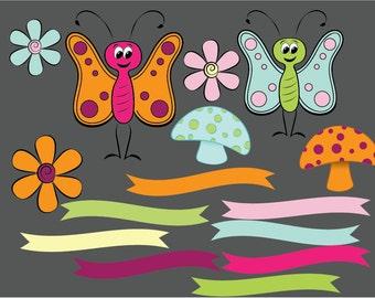 Butterfly clipart, mushroom clipart, flowers clipart, digital daisy, ribbon clip art, flag clipart, cute butterly clip art, Commercial Use