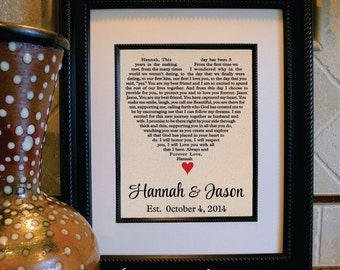 Personalized Heart Shaped Lyrics, Vows or Song Lyrics, Custom Wedding Song Lyrics Print Cotton 2nd Anniversary gift Wedding Vows(vows-102)