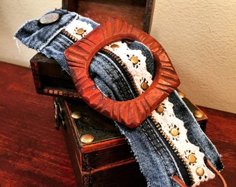 Hand carved buckle cuff bracelet