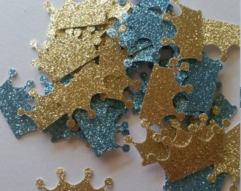 Royal Baby Shower,  Royal Prince Baby Shower, Blue and Gold Crown Prince Confetti, Prince Crown, Baby Crown, Baby Boy, Prince Baby Shower