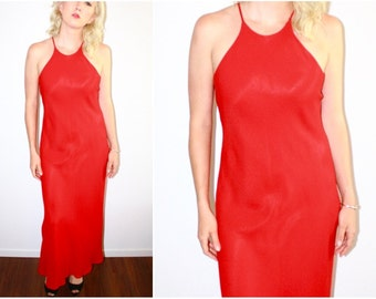 90's Red High Neck Maxi Formal Dress L