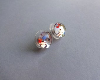 Clear sparkle mix color  fusing glass studs Earrings - fusing jewelry - glass earrings