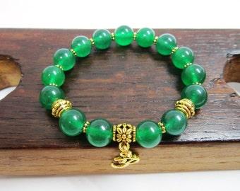 Green Jade Bracelet, Heart Chakra Bracelet, Yoga Meditation Bracelet Green Jade Power Healing Love Luck Bracelet, Green Jade Chakra Bracelet