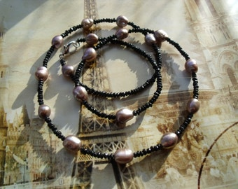 Spinel freshwater cultured pearl necklace pearls necklace Baroque