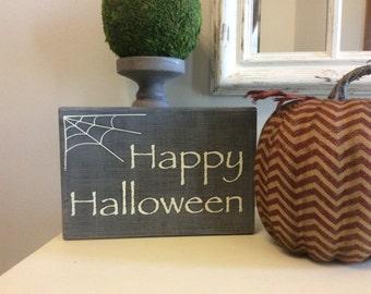 Happy Halloween Sign, Halloween Decor, Black and White Halloween