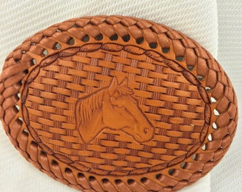 Youth/Small Leather Belt Buckle: Horse Head Design