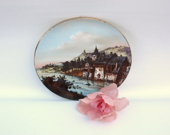 Castle Decorative Plate Castle Painting Plate Decorative Dish Castle with Mountains