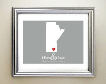 Manitoba Custom Horizontal Heart Map Art - Personalized names, wedding gift, engagement, anniversary date
