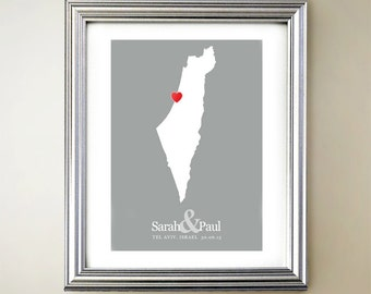 Israel and Palestine Custom Vertical Heart Map Art - Personalized names, wedding gift, engagement, anniversary date
