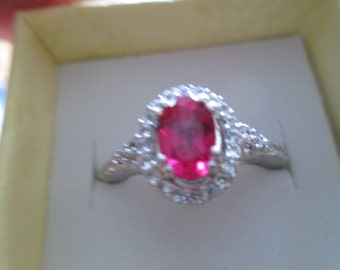 Handcrafted Designer 1.35ctw Ruby and White Sapphire 925 Sterling Silver Ring 3.4 Grams, Size 7