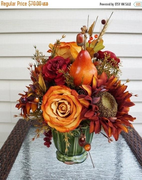 Fall Sale Fall Flower Arrangement Home Decor Fall Leaves Orange Roses Brown Sunflowers