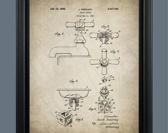 Bathroom Faucet Patent Print - Victorian Faucet - Vintage Bathroom Decor - Victorian Art - Vintage Faucet - Plumber Gift Bathroom Art - #089