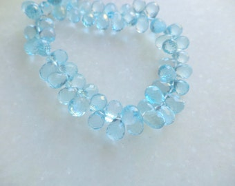 Sky Blue Topaz AAA Quality faceted Briolette Tear Dropes 4 inches 6*9 mm