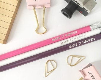 Pencils, set of 3, white, pink, purple - make it happen