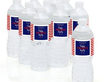 Fourth of July Water Bottle Sticker Labels - Birthday Party Supplies - 10 Count