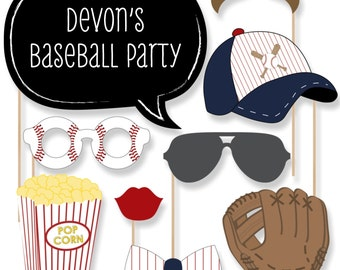 Baseball Photo Booth Props - Baseball Photobooth Kit with Custom Talk Bubbles for 20 Batter Up - Baby Shower or Birthday Party - 20 Pcs