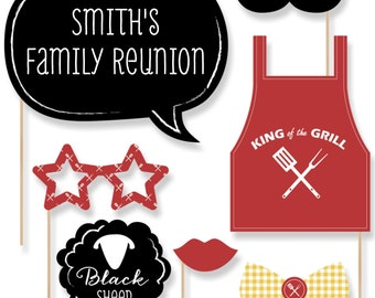 20 pc. Family Reunion Summer Party Props - Family Reunion Photo Prop Kit with Apron, Glasses and Custom Message Talk Bubble