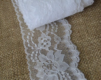 "5 yard roll  White Lace Trim 4"" wide  Perfect for DIY Table Runner Lace for DIY Remnants Clothing lace/ Extender  Lace/ Clearance Priced"