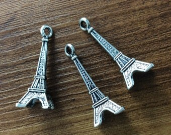 25pcs 30*15mm Antique Silver Eiffel Tower  Pendants  , Eiffel Tower  Charms , Charms, Charms Bracelet