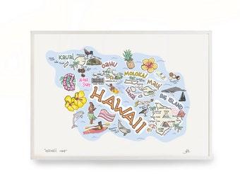 "Hawaii Map, 9""x12"" Hawaii Print, Unframed, Printed on watercolor paper"