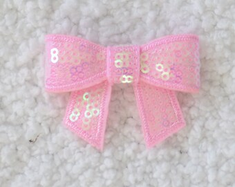 "2"" Sequin Bow, Embellishment for Headbands, DIY Craft Supplies, Applique Sequin Bow, Shimmery Pink, Lot of 1 or 2"