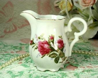Pretty Pink Roses Vintage Porcelain Creamer Pitcher