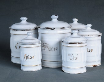 French kitchen canisters set of 6 antique white enamel
