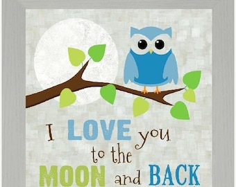 """Sale I Love You To The Moon And Back Boy Owl Framed Picture 12x12"""""""