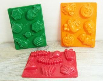Vintage Jello Jiggler Molds 3 Holiday Jello Molds Christmas Jello Mold Halloween Jello Mold Birthday Jello Mold 1980s