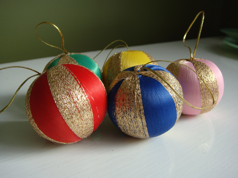 Vintage christmas ornaments spun silk string ornaments set - String ornaments christmas ...