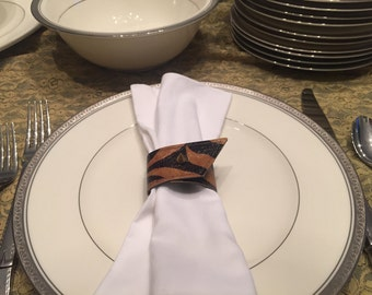Leather & Spike Napkin Rings/Cuffs - Tiger (Dk Brown + Caramel) w/ Gold spikes (sold in sets of 6)