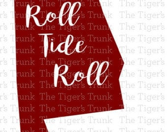 Alabama Roll Tide Roll cutting file package (SVG, JPG, DXF files)