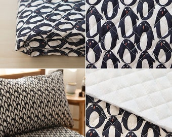 Quilted Little Penguin Pattern Cotton Fabric by Yard
