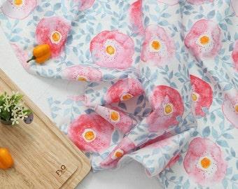 Poppy Pattern Cotton Fabric by Yard - Pink
